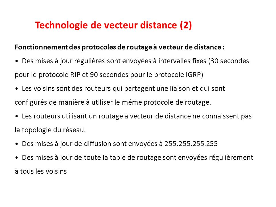 Technologie de vecteur distance (2)