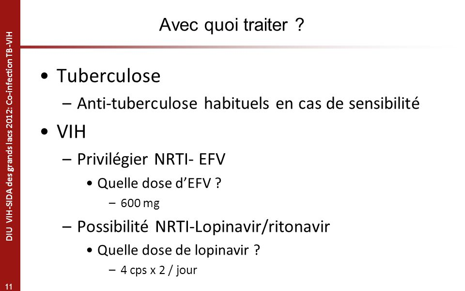 Tuberculose VIH Avec quoi traiter