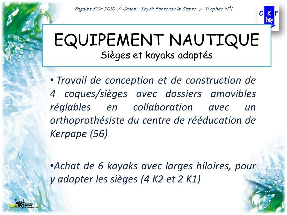 EQUIPEMENT NAUTIQUE Sièges et kayaks adaptés