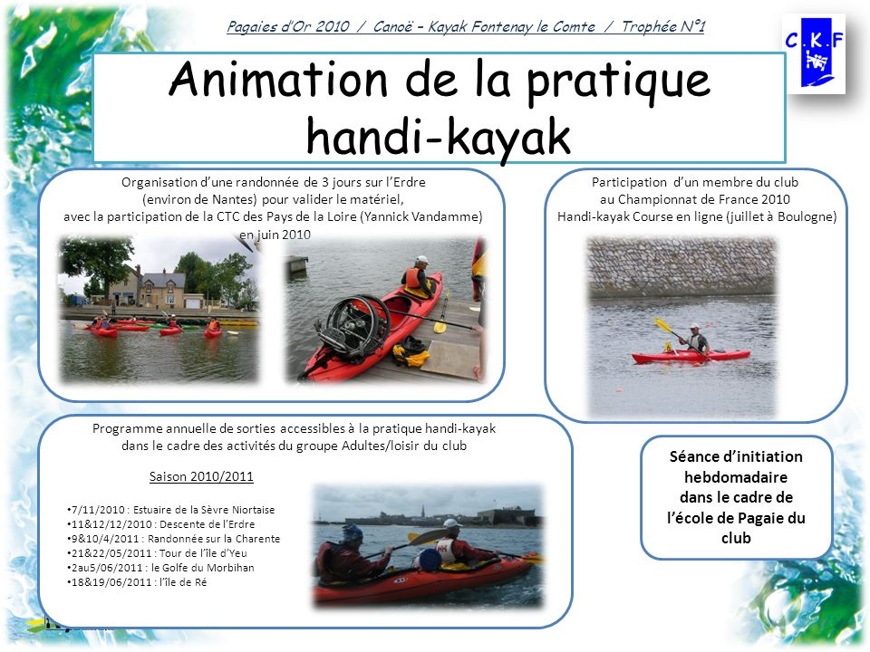 Animation de la pratique handi-kayak