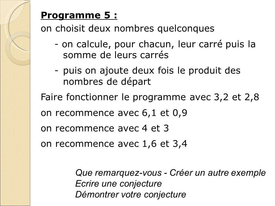 Programme 5 : on choisit deux nombres quelconques. - on calcule, pour chacun, leur carré puis la somme de leurs carrés.