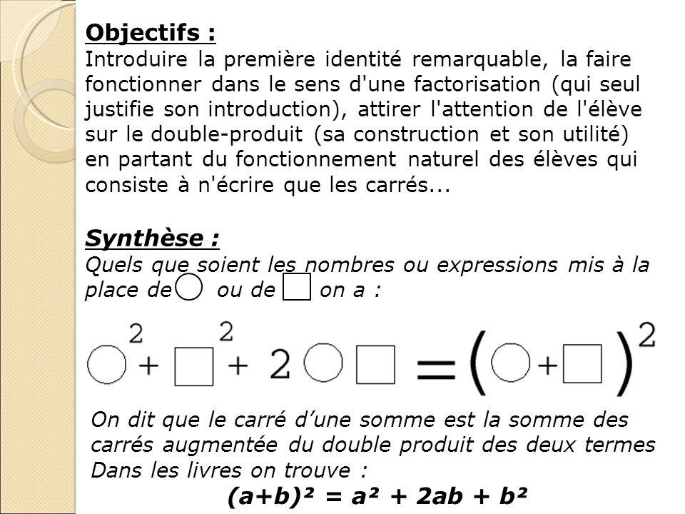 Objectifs : Synthèse : (a+b)² = a² + 2ab + b²
