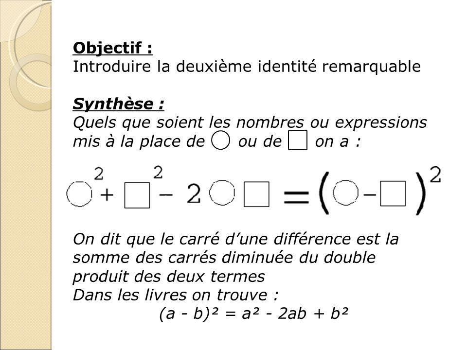 Objectif :Introduire la deuxième identité remarquable. Synthèse :