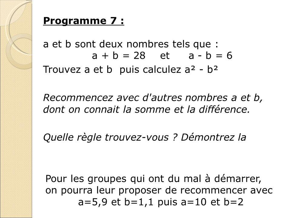 Programme 7 : a et b sont deux nombres tels que : a + b = 28 et a - b = 6. Trouvez a et b puis calculez a² - b².