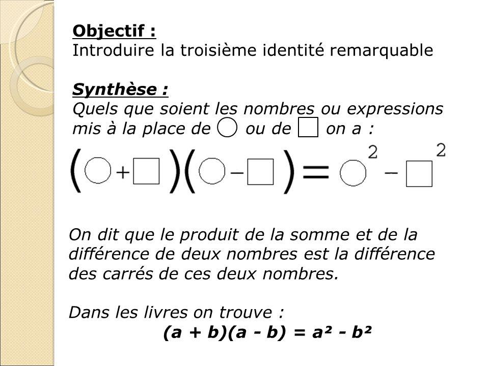 Objectif :Introduire la troisième identité remarquable. Synthèse :