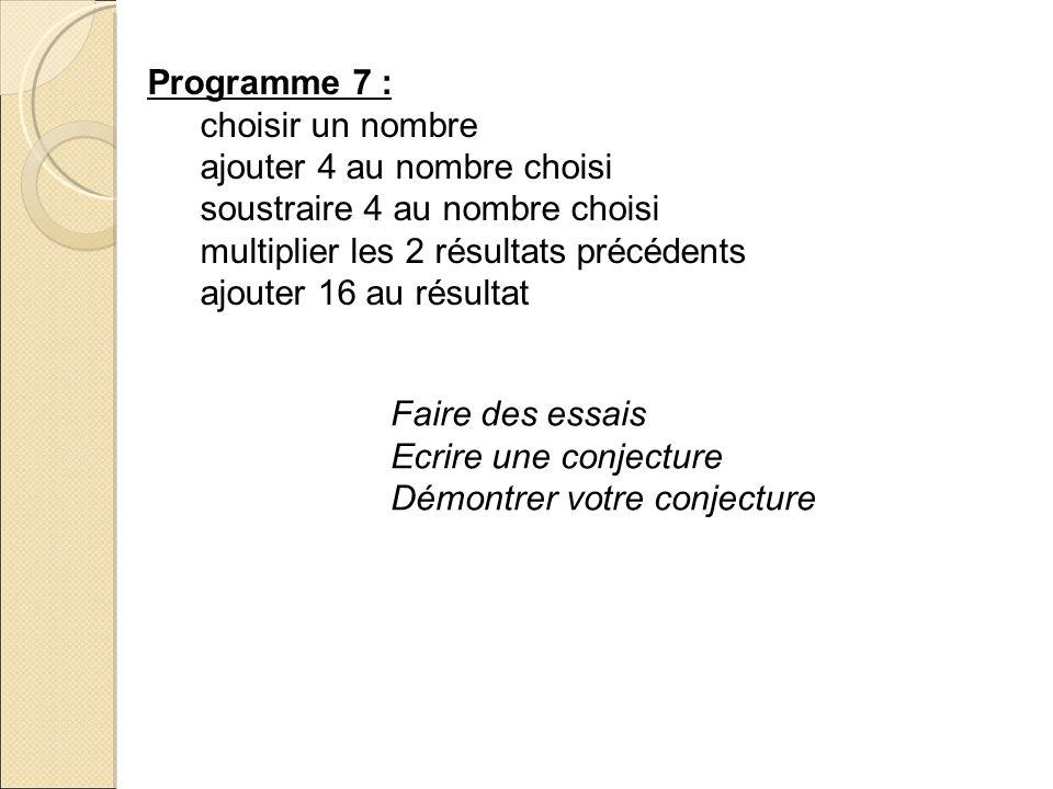 Programme 7 :choisir un nombre. ajouter 4 au nombre choisi. soustraire 4 au nombre choisi. multiplier les 2 résultats précédents.