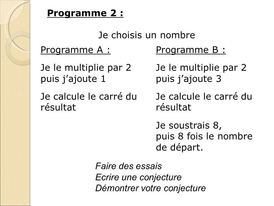 Programme 2 : Je choisis un nombre. Programme A : Programme B : Je le multiplie par 2 puis j'ajoute 1.