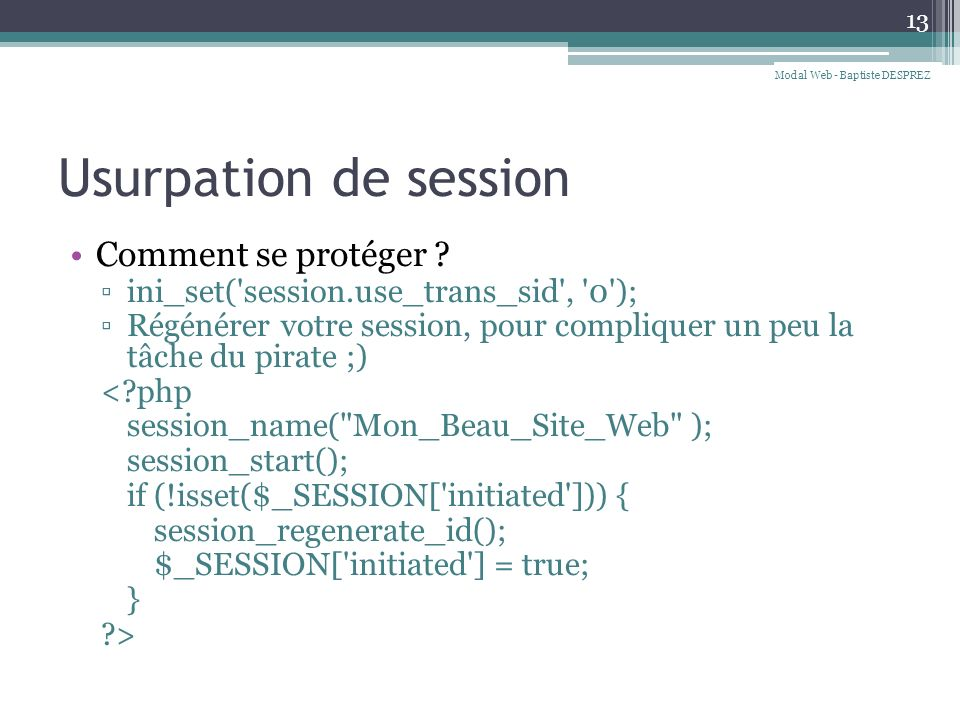 Usurpation de session Comment se protéger