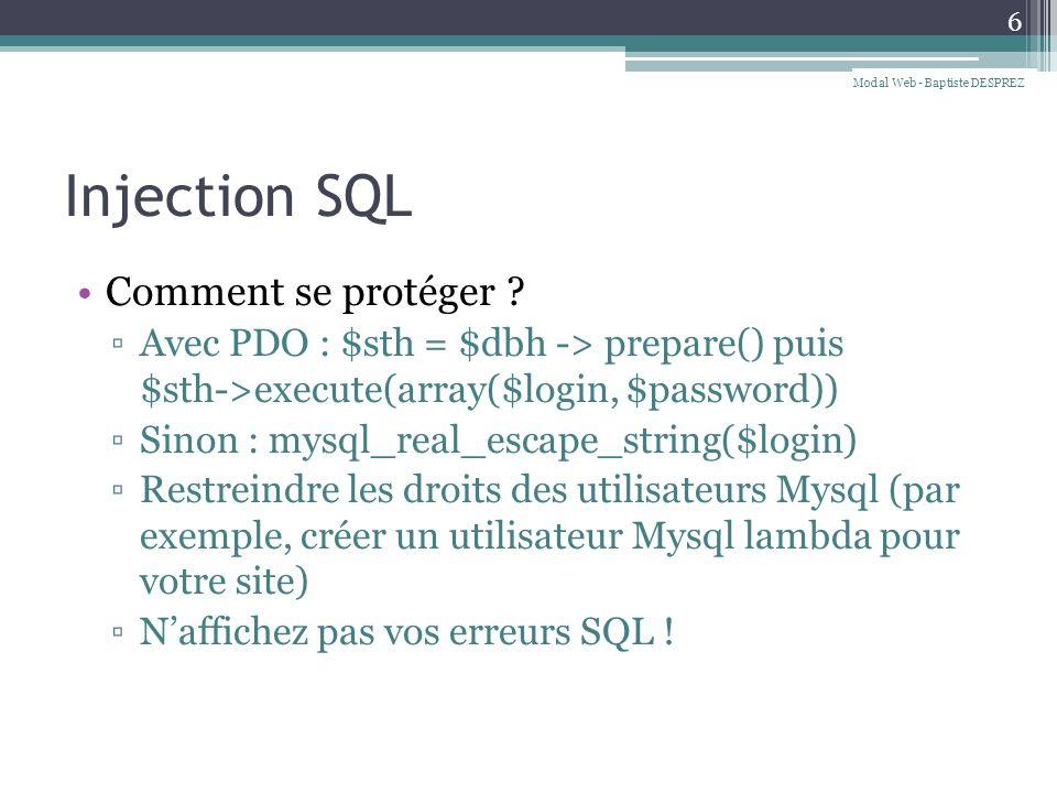Injection SQL Comment se protéger