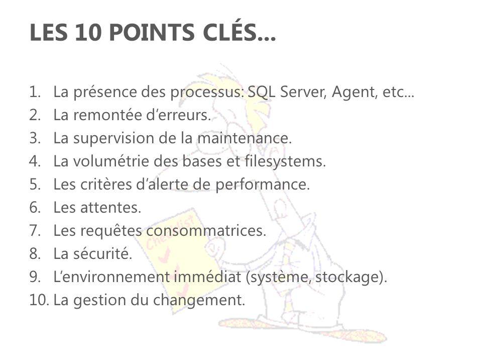Les 10 points Clés... La présence des processus: SQL Server, Agent, etc... La remontée d'erreurs. La supervision de la maintenance.