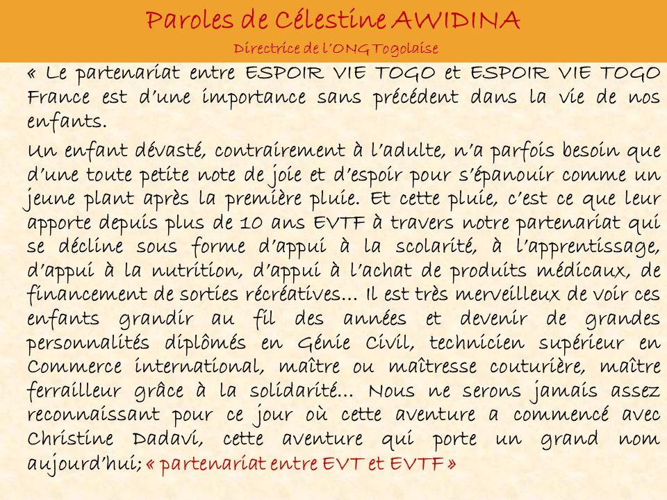 Paroles de Célestine AWIDINA Directrice de l'ONG Togolaise