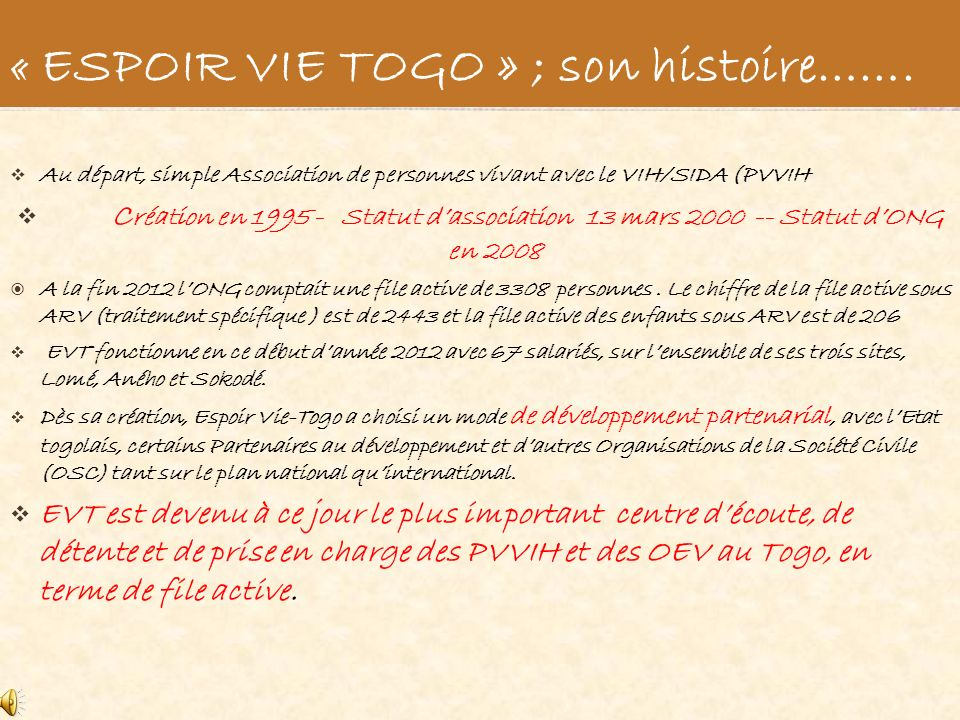 « ESPOIR VIE TOGO » ; son histoire…….