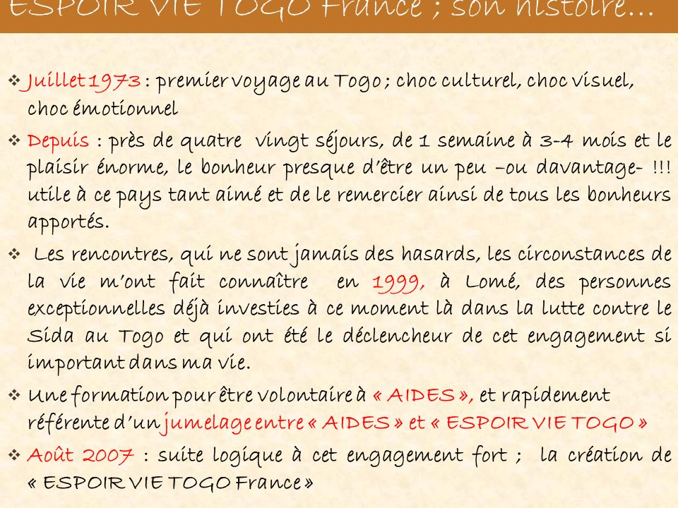 « Espoir Vie Togo France »; Son histoire…