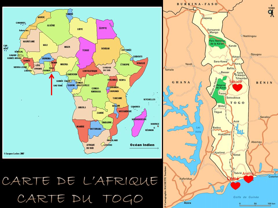 Carte de l'Afrique carte du togo