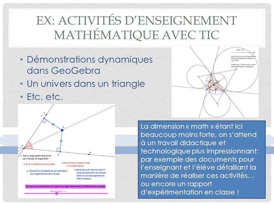 Ex: Activités d'enseignement mathématique avec tic
