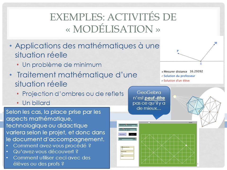 Exemples: Activités de « modélisation »