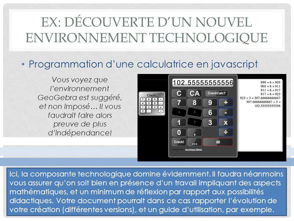 EX: Découverte d'un nouvel environnement technologique