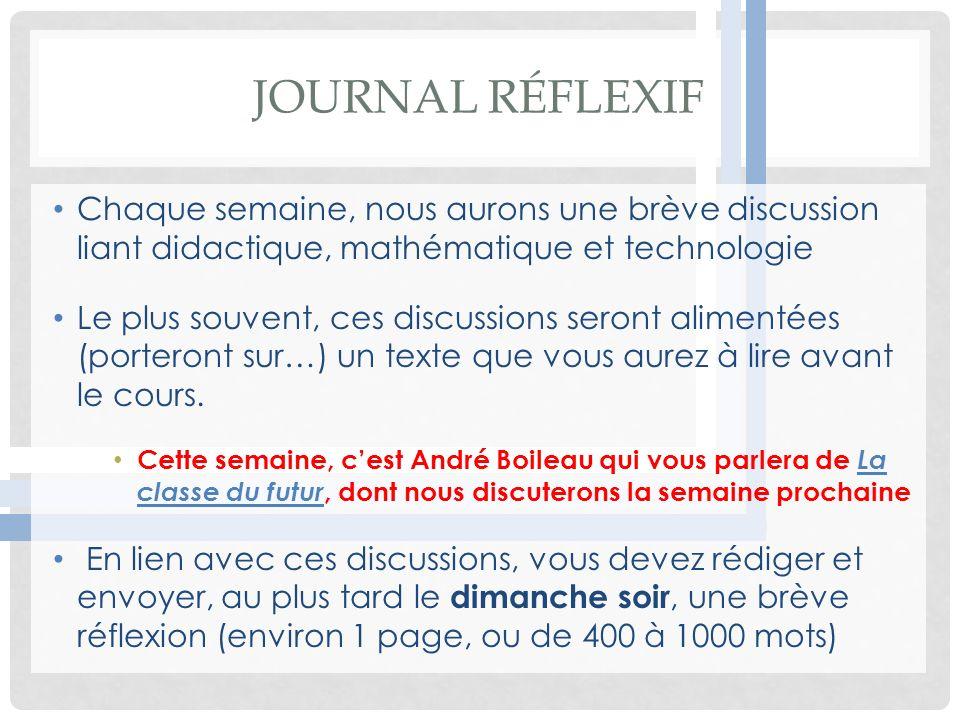 Journal Réflexif Chaque semaine, nous aurons une brève discussion liant didactique, mathématique et technologie.