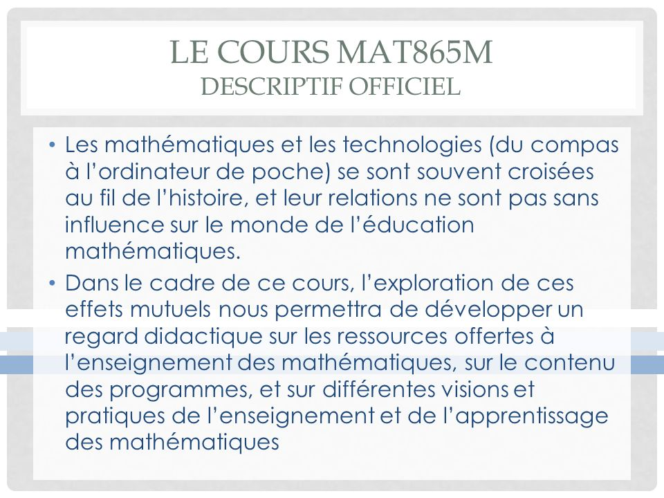Le cours MAT865M descriptif officiel