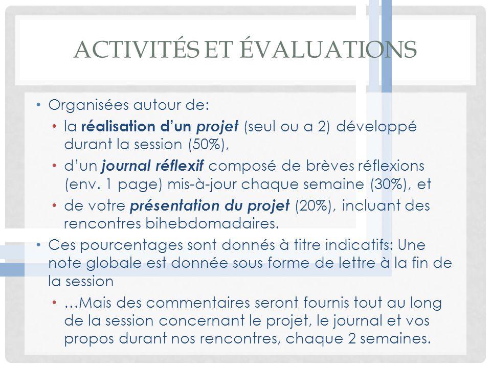 Activités et évaluations