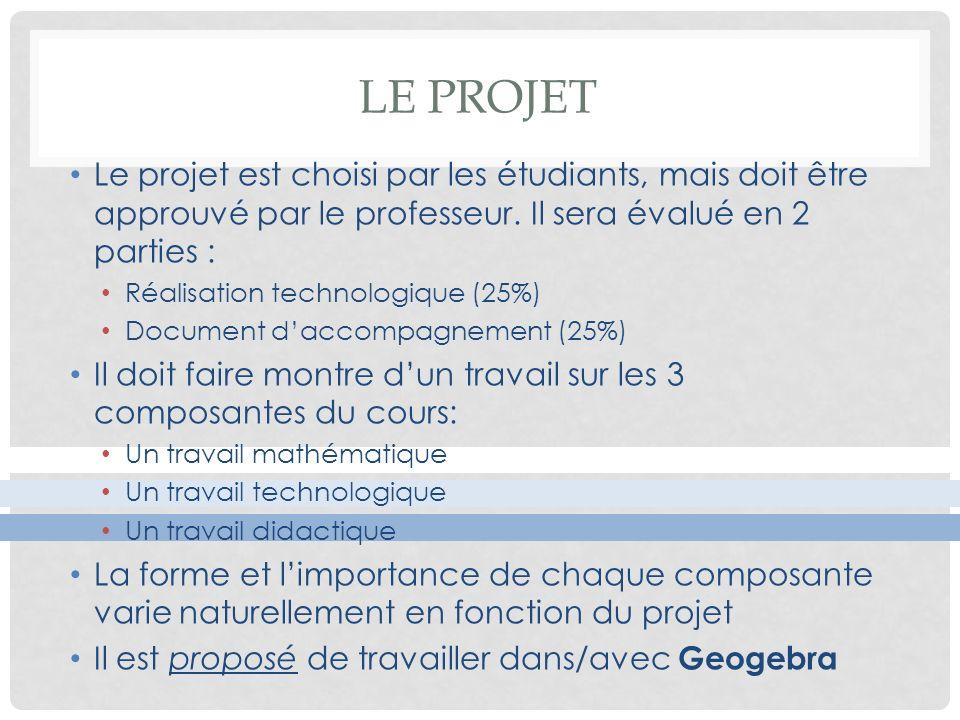 Le projet Le projet est choisi par les étudiants, mais doit être approuvé par le professeur. Il sera évalué en 2 parties :