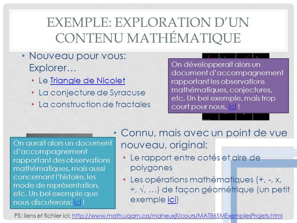 Exemple: Exploration d'un contenu mathématique