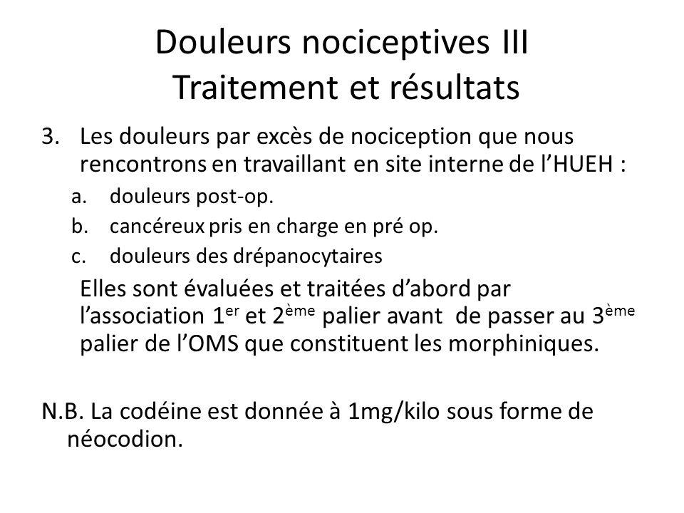 Douleurs nociceptives III Traitement et résultats