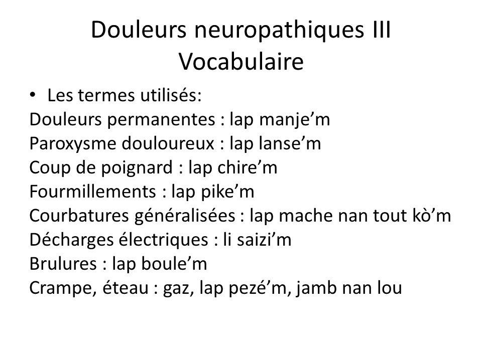 Douleurs neuropathiques III Vocabulaire