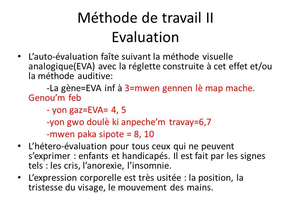 Méthode de travail II Evaluation