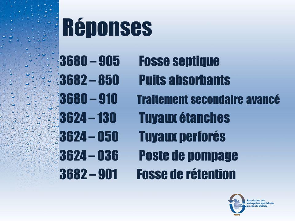 Réponses 3680 – 905 Fosse septique 3682 – 850 Puits absorbants