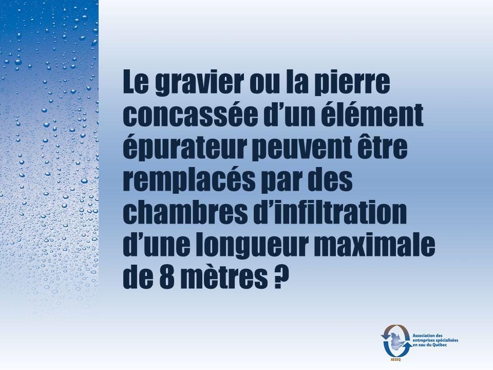 Le gravier ou la pierre concassée d'un élément épurateur peuvent être remplacés par des chambres d'infiltration d'une longueur maximale de 8 mètres