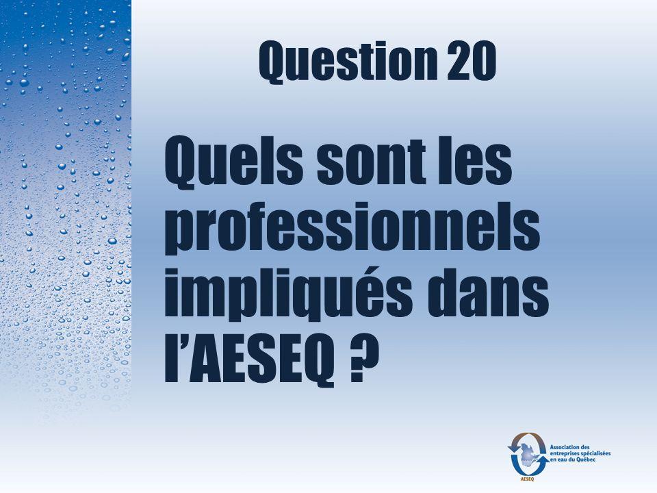 Question 20 Quels sont les professionnels impliqués dans l'AESEQ