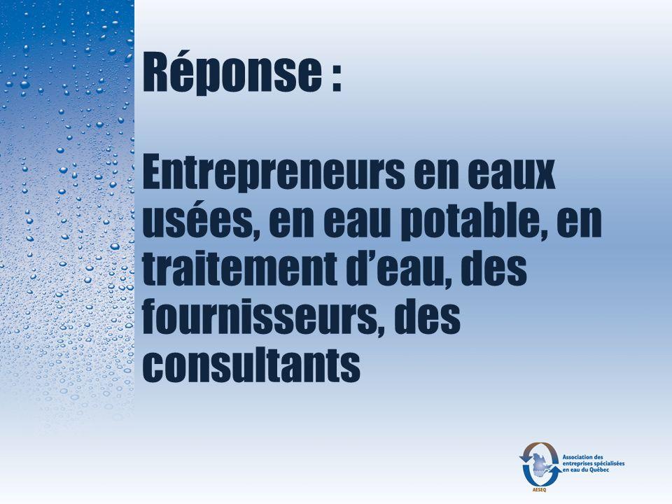 Réponse : Entrepreneurs en eaux usées, en eau potable, en traitement d'eau, des fournisseurs, des consultants.