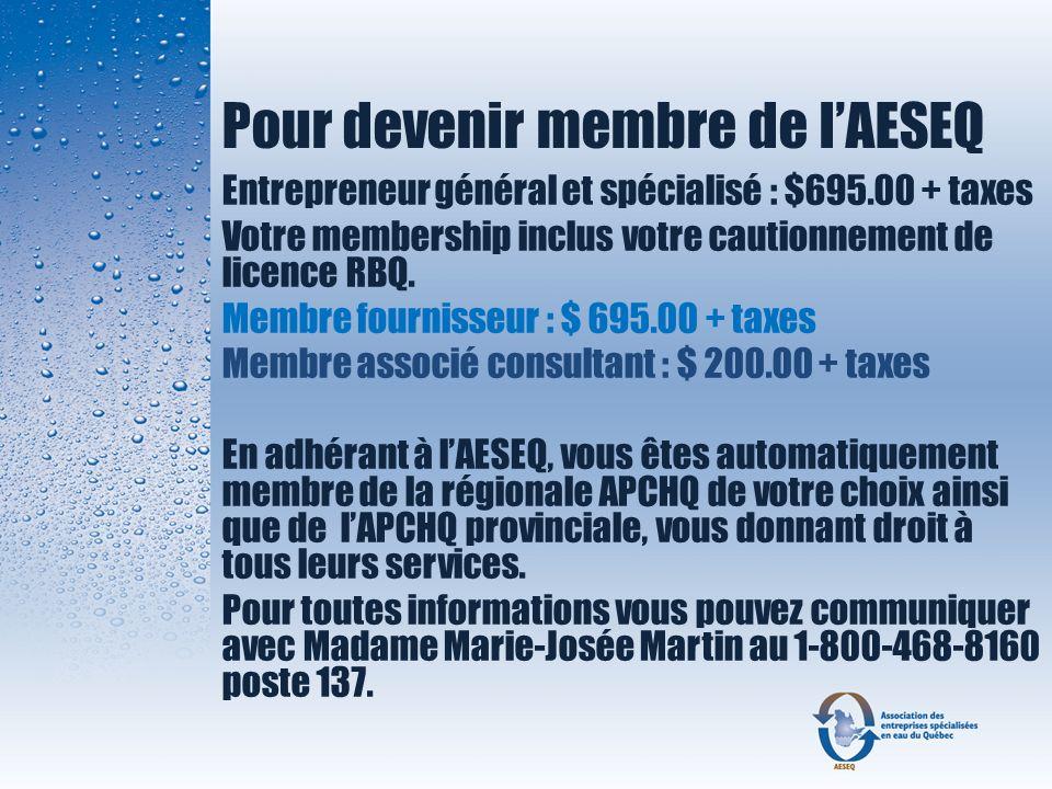 Pour devenir membre de l'AESEQ
