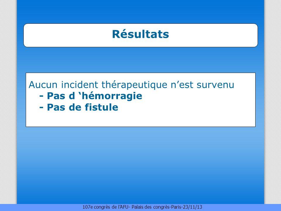Résultats Aucun incident thérapeutique n'est survenu - Pas d 'hémorragie - Pas de fistule.