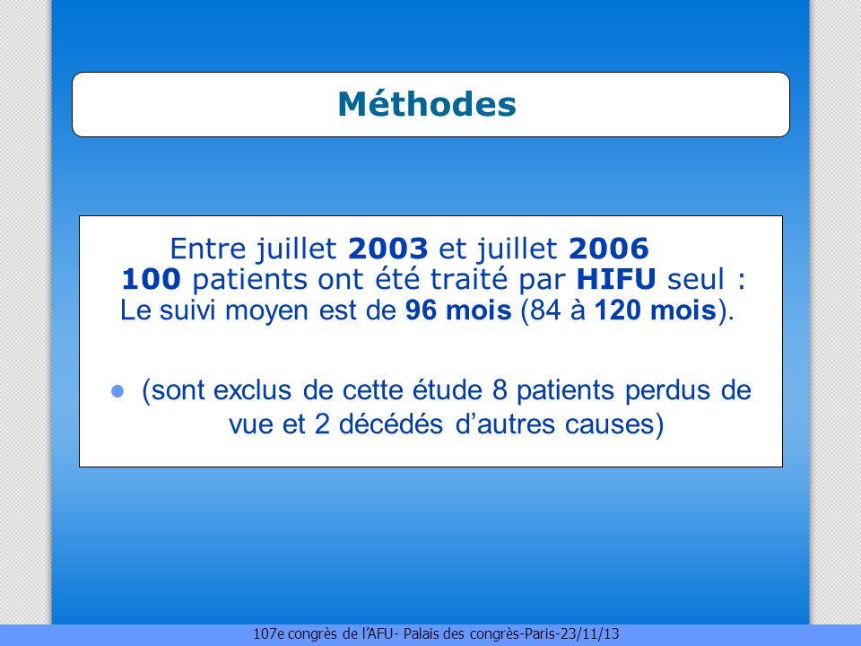 . Méthodes Entre juillet 2003 et juillet 2006 100 patients ont été traité par HIFU seul : Le suivi moyen est de 96 mois (84 à 120 mois).