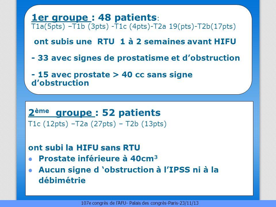 1er groupe : 48 patients: T1a(5pts) –T1b (3pts) -T1c (4pts)-T2a 19(pts)-T2b(17pts) ont subis une RTU 1 à 2 semaines avant HIFU - 33 avec signes de prostatisme et d'obstruction - 15 avec prostate > 40 cc sans signe d'obstruction