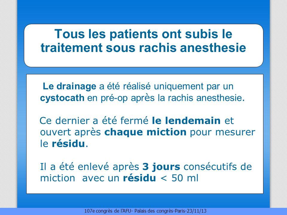 Tous les patients ont subis le traitement sous rachis anesthesie