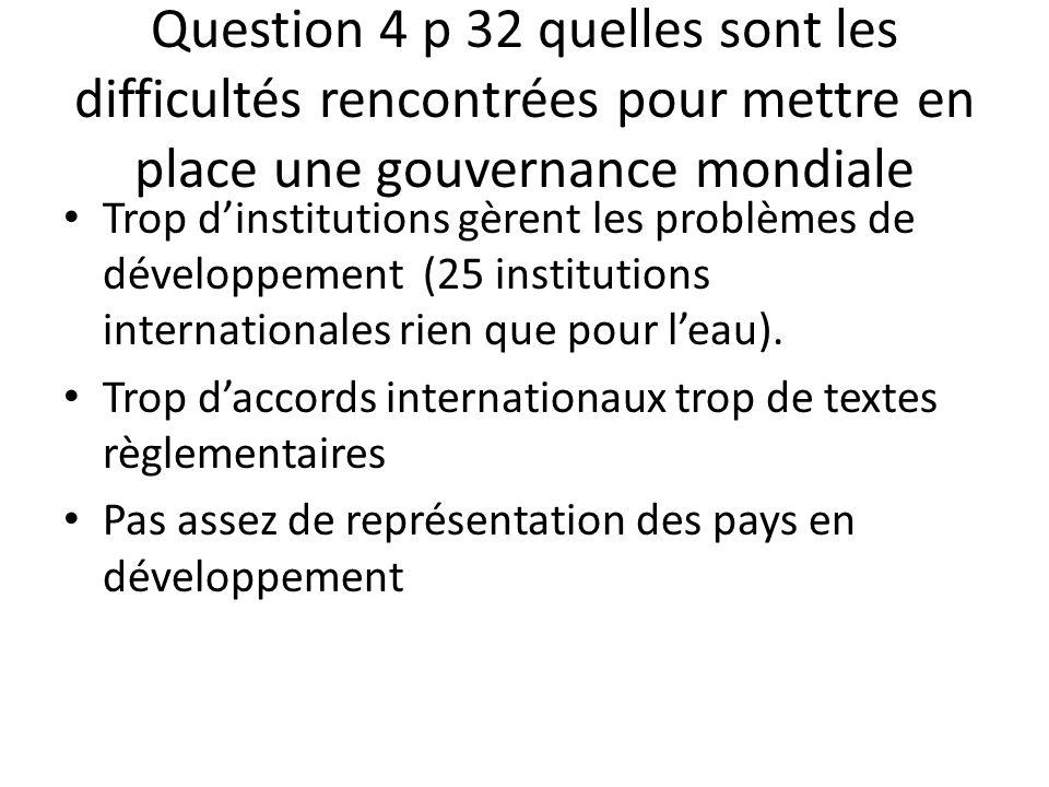 Question 4 p 32 quelles sont les difficultés rencontrées pour mettre en place une gouvernance mondiale