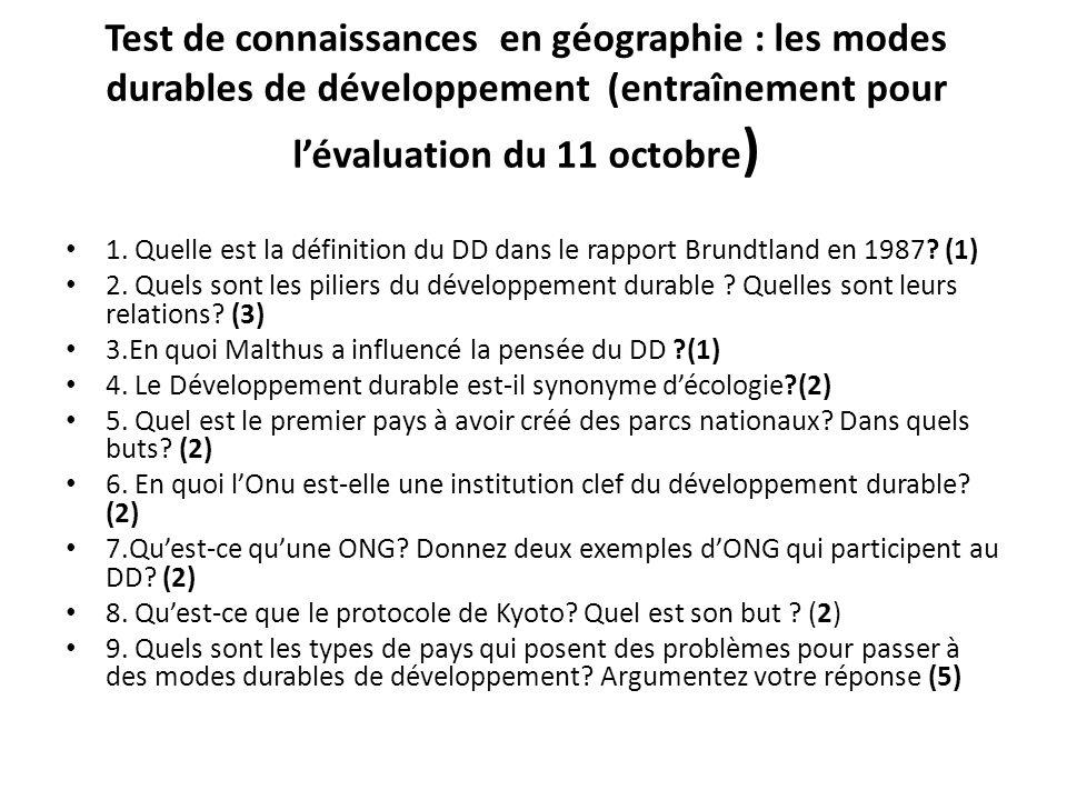Test de connaissances en géographie : les modes durables de développement (entraînement pour l'évaluation du 11 octobre)