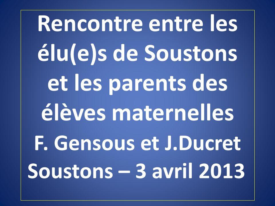 Rencontre entre les élu(e)s de Soustons et les parents des élèves maternelles F.