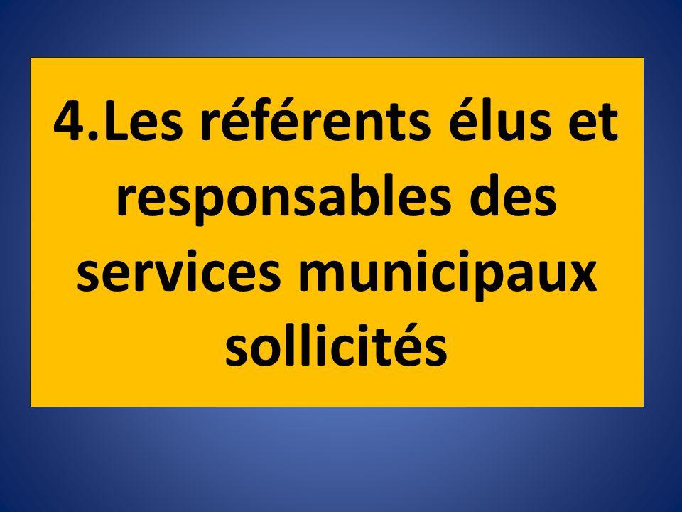 4.Les référents élus et responsables des services municipaux sollicités