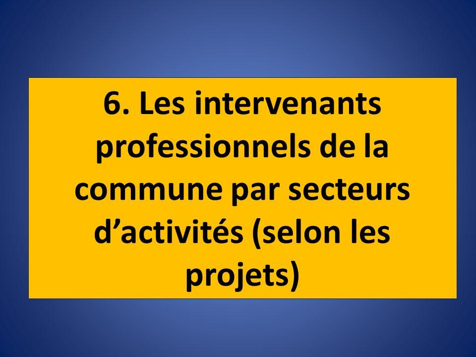 6. Les intervenants professionnels de la commune par secteurs d'activités (selon les projets)