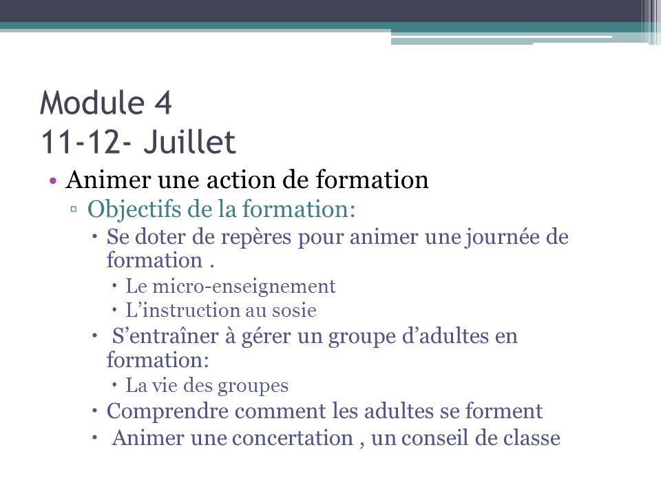 Module 4 11-12- Juillet Animer une action de formation