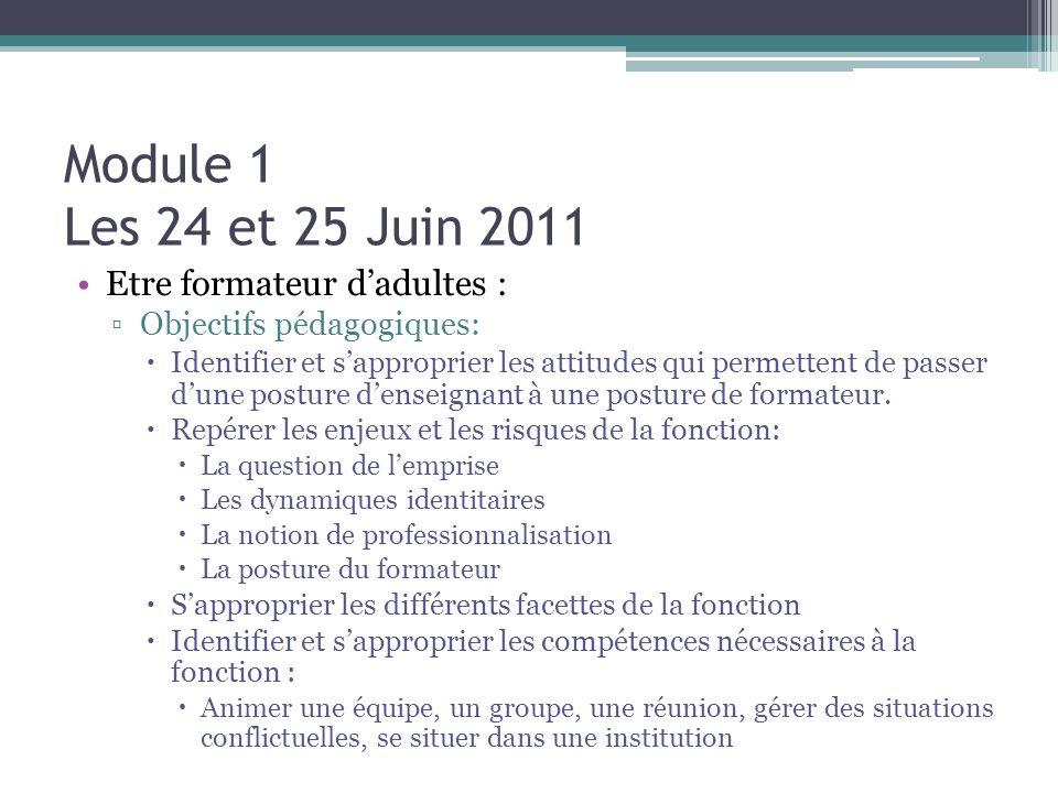 Module 1 Les 24 et 25 Juin 2011 Etre formateur d'adultes :
