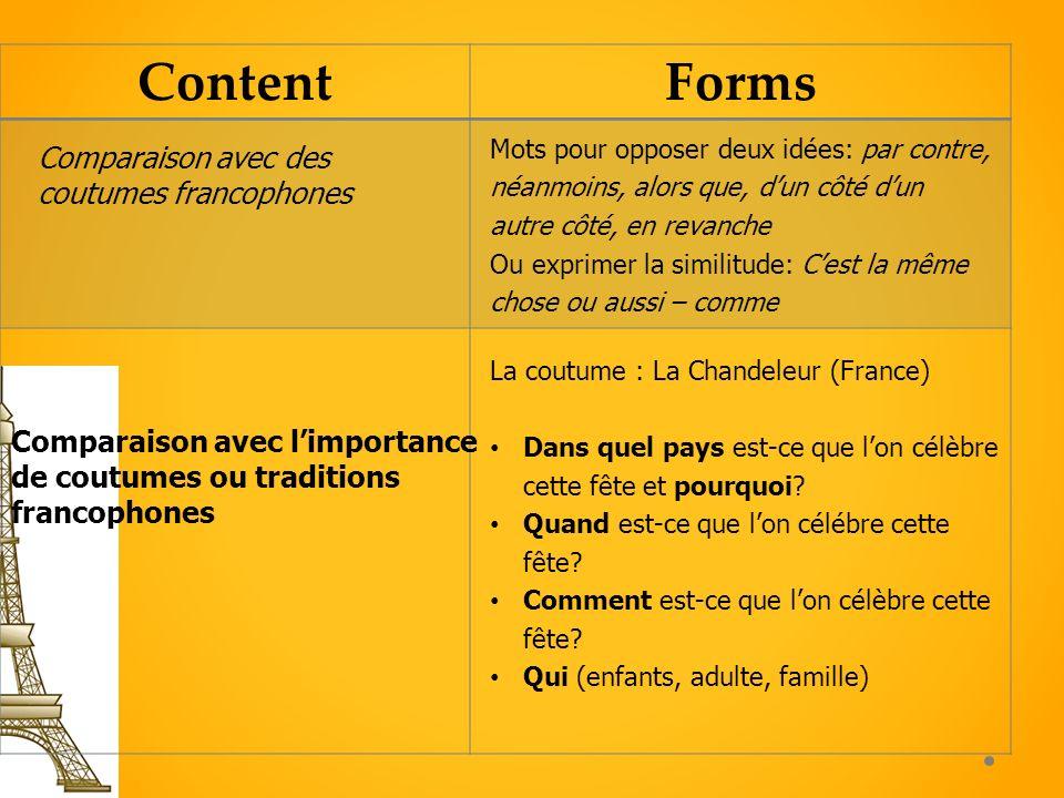 Content Forms Comparaison avec des coutumes francophones
