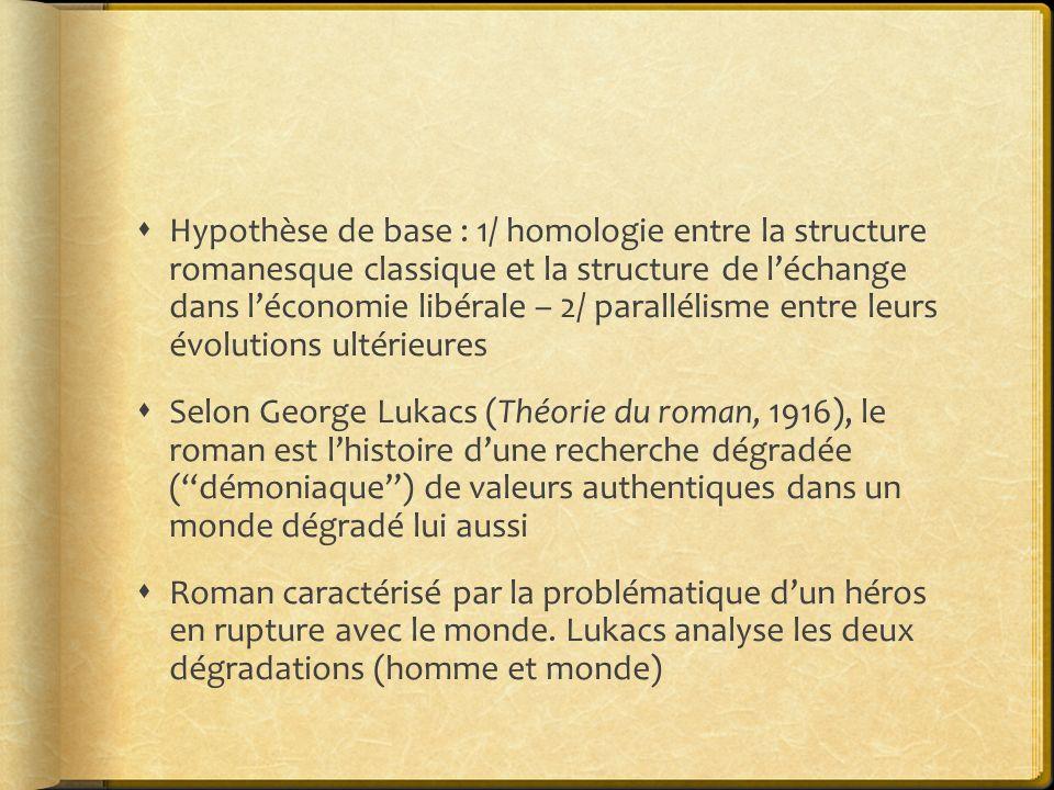 Hypothèse de base : 1/ homologie entre la structure romanesque classique et la structure de l'échange dans l'économie libérale – 2/ parallélisme entre leurs évolutions ultérieures