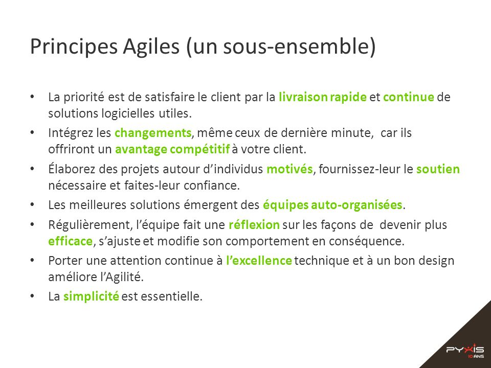 Principes Agiles (un sous-ensemble)