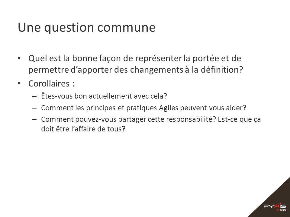 Une question commune Quel est la bonne façon de représenter la portée et de permettre d'apporter des changements à la définition