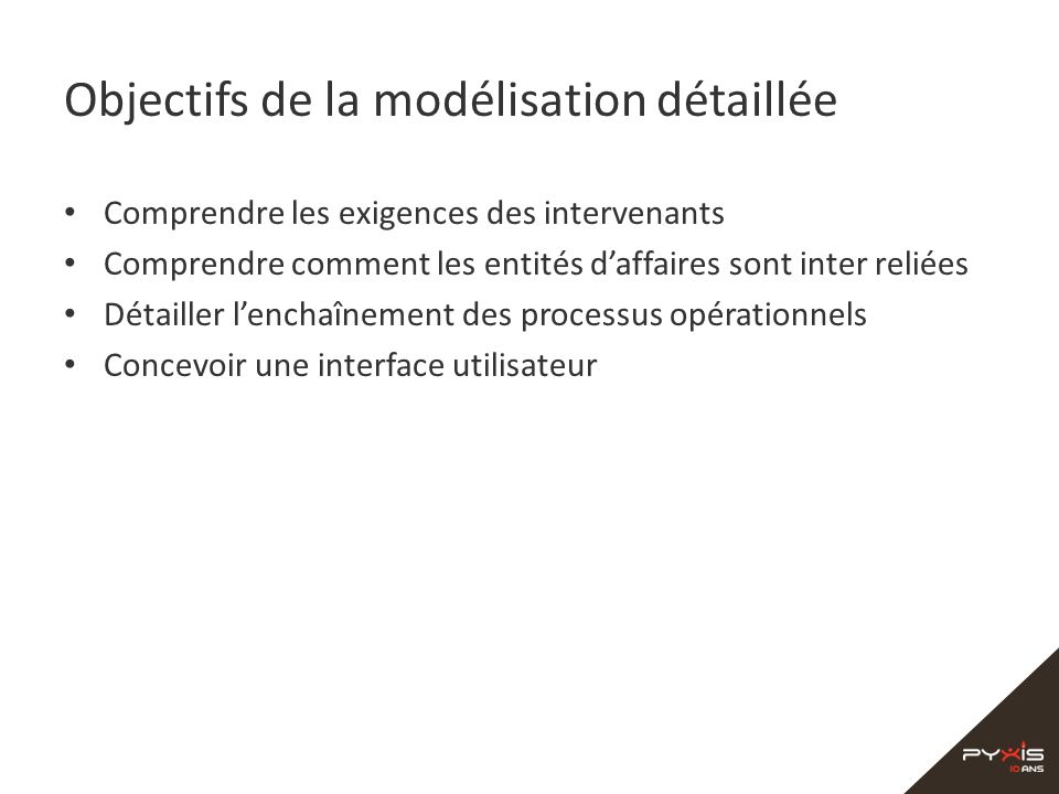 Objectifs de la modélisation détaillée